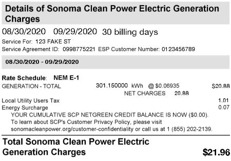 Example PG&E CCA bill