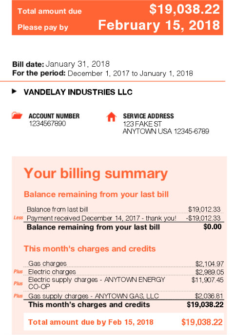 Example residential bill
